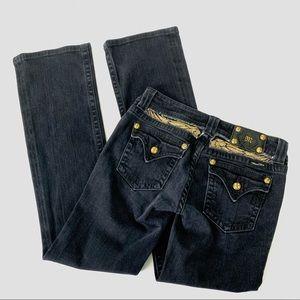 Miss Me   Black Boot Cut Jeans Gold Rhinestones 30